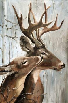 Farm Paintings, Animal Paintings, Deer Paintings, Art Original, Original Paintings, Deer Drawing, Deer Illustration, Deer Pictures, Deer Art