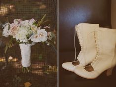 "Al's Attire custom victorian boots and Sharla Flock bouquet ""Romantic California Ranch Wedding: Marissa + Charlie"" on greenweddingshoes.com"