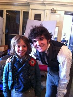 Fra Fee (Courfeyrac in the Les Mis film) with the Daniel Huttlestone, playing Gavroche.