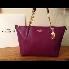 COACH Cross Grain Leather Ava Tote in Plum! BRAND NEW Cleaning care instructions inside Firm Price. Purchase this and I with fill  with free presents Coach Bags