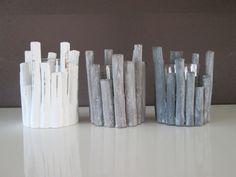 Sfeerlicht Boomstam wit. Met glas, 12 cm  www.hkhomecollection.nl