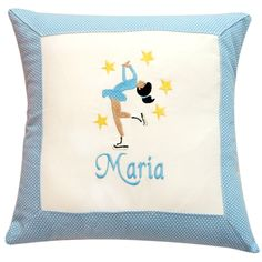 Ice Skating Pillow - Personalized Embroidered Figure Skater Design