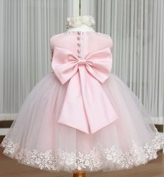 Girls Dress Princess dress children's wear Party veil Big bow girl wedding flower Baby girls dress pink white-in Apparel & Accessories on A...