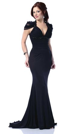 Possibly MY next pageant gown. Great for offsetting narrow shoulders and the empire waist adds height.