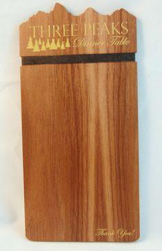 Custom Check Presenter made in Walnut Menu Restaurant, Restaurant Design, Check Presenter, Wood Invitation, Custom Rubber Stamps, Custom Checks, Wood Ornaments, Fort Collins, Walnut Wood