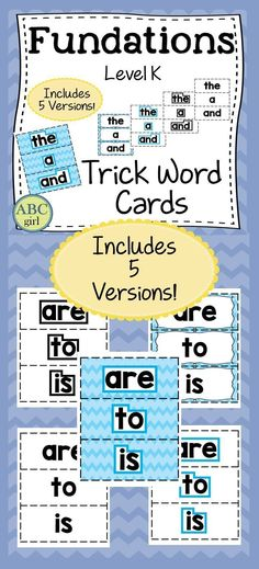 Fundations Level K Trick Words cards can be used on your word wall, during your Fundations lessons, at centers, or sent home for practice. There are 5 different versions of each set.Set 1: Color coded by unit with word shapeSet 2: Color coded by unit without word shapeSet 3: White background with blue word shapeSet 4: White background with black word shapeSet 5: White background without word shape