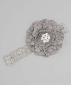 Look at this Silver Rhinestone Lace Flower Headband on #zulily today!