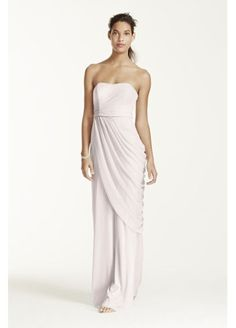 c15aeb85389 Biscotti and Ivory Bridesmaid Dresses  Long Strapless Mesh Dress with Side  Draping W10482 Pastel Bridesmaid