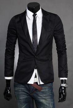 British Style Men Long Sleeve One Button Black Suit M/L/XL/XXL @X131099b