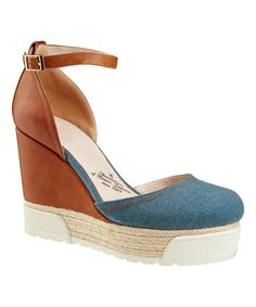 Look at this BÉTSY Brown & Denim Espadrille on #zulily today!