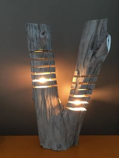 fragmented double wood lamp, double log lamp, driftwood effect, LED lamp, design nature - Eleanor Jenkins - Welcome to the World of Decor! Rustic Lamps, Wood Lamps, Rustic Lighting, Cool Lighting, Driftwood Lamp, Unique Lamps, Led Lampe, Wooden Diy, Diy Wood