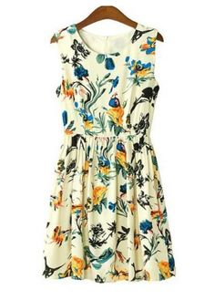 http://www.anrdoezrs.net/click-7653399-12002723   What a look    Colorful Round Neck Elastic Waist Printed Tank Dress