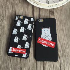 iPhone7 プラス ケース シュプリーム ペア 薄型 猫