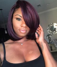 Dig through these sew in hairstyles to find your weave inspiration! Be it for straight to curly, short, medium or long hair, we've got something for all! Afro Hair Style, Curly Hair Styles, Natural Hair Styles, Purple Natural Hair, Natural Hair Bob, Love Hair, Great Hair, Gorgeous Hair, African Hairstyles