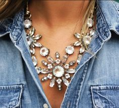 J Crew Spring Must be because I grew up in Texas that I love mixing rhinestones and denim/chambray.