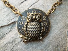 Steam Punk Necklace with Perched Owl created by Anni Frohlich
