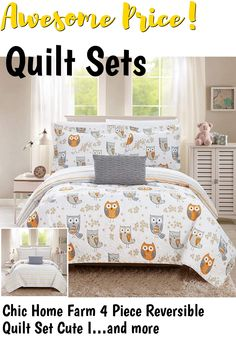 Chic Home Farm 4 Piece Reversible Quilt Set Cute It's A Hoot Owl Friends Youth Design Bed in a Bag-Decorative Pillow Shams Included, Full, Grey ... (This is an affiliate link) #quiltsets