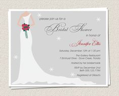 20 Bridal Shower Invitations  Winter Bride by EclecticNoteCards