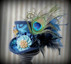 Blue and Gold Mini Top Hat Mad hatter Hat Alice in by ChikiBird, $48.00