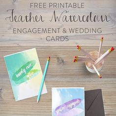awesome vancouver wedding NEW BLOG POST! Today we've got free printables of feather watercolor engagement & wedding cards! Enjoy and happy wedding season! ☀️  #vancouverengagement #vancouverwedding #vancouverwedding