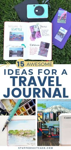 Travel journal ideas to help you create a travelers notebook to record and remember your trip. Tips and Inspiration for how to make a travel journal scrapbook that looks great. book 15 Easy Travel Journal Ideas to Make Your Trip Diary Amazing Travelers Notebook, Top Travel Destinations, Travel Tips, Travel Packing, Travel Essentials, Travel With Kids, Family Travel, Travel Journal Scrapbook, Tips Fitness