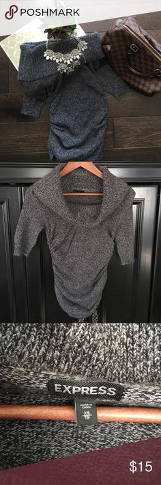 Express • Cowl Neck Ruched Sides Sweater Express • Cowl Neck Ruched Sides Sweater.  Size XS, excellent condition Express Sweaters Crew & Scoop Necks