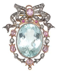 AN AQUAMARINE, SAPPHIRE AND DIAMOND PENDANT BROOCH