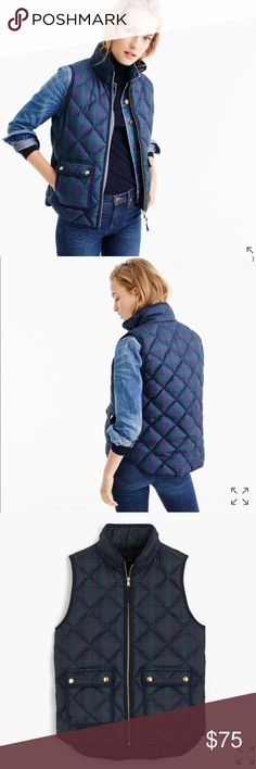 J. Crew Black Watch Excursion Quilted Vest PRODUCT DETAILS Our customer-favorite down vest that's slim and lightweight, but still warm enough to keep chilly weather at bay—now in holiday-ready Black Watch tartan with double-entry pockets.  Down-filled poly. Standing collar. Zip closure. Pockets. Lined. Machine wash. J. Crew Jackets & Coats Vests