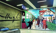 #admirebelgium More Tintin - Enjoy the new Comic strip Mural at Brussels South Station