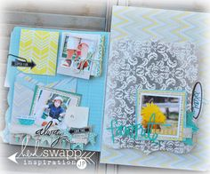 Love the photo mats/stacks on these pages Mini Scrapbook Albums, Scrapbook Journal, Mini Albums, Heidi Swapp, Making Memories, Art Journal Inspiration, Smash Book, Mini Books, File Folder