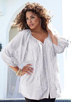Denim Plus Size Shirttail Peasant Blouse Plus Size Shirts, Plus Size Blouses, Big And Tall Outfits, Plus Size Outfits, Plus Size Womens Clothing, Plus Size Fashion, Size Clothing, Pretty Outfits, Cute Outfits