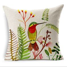 Pájaros pintura decorativa almohada Nordic sofá de lino cojín 45x45 coloridas aves almofadas párr