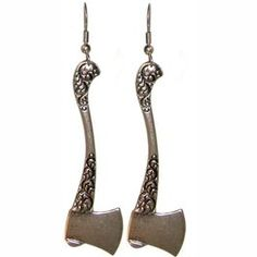 "Once Upon a Time.... 2 1/4"" Ornate Throwing Axe Earrings in Burnished Silver."