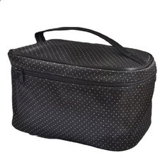Women Dots Printed Zipper Rectangle Cosmetic Bag Pouch Black. View website for more description.