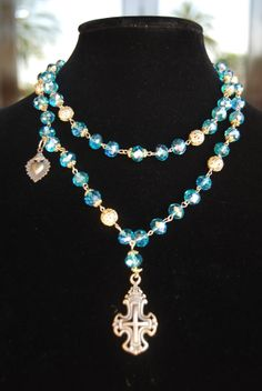 d1006eff3a437d Santa Rebecca Double Layered Beaded Necklace - Our double layered necklace  is made with blue crystal and gold plated decorative beads with antique  bronze ...