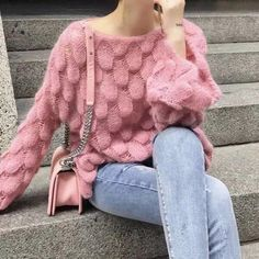 Thin Knitted Pink New Loose Mohair Sweaters Cheap Cardigans, Cardigans For Women, Plus Size Pullover, Woolen Clothes, Plus Size Outerwear, Plus Size Sweaters, Mohair Sweater, Winter Dresses, Trendy Plus Size