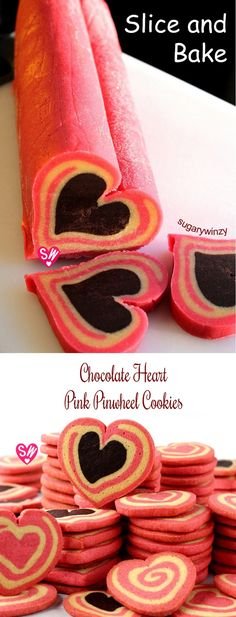 SugaryWinzy Chocolate Heart Pink Pinwheel Cookies