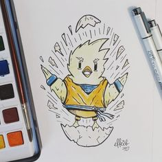 Heres #12 for inktober (shattered) Starting life off on those levels! Lol  .  .  .  .  .  #inktober #inktober2017 #inktoberprompts #day12 #shattered #effect14 #illustration #traditionalart #drawing #watercolor #copicmultiliner #chicken #goku #breakout #artlife
