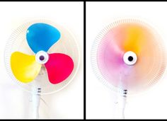 Spray paint fan blades primary colours to create a rainbow!