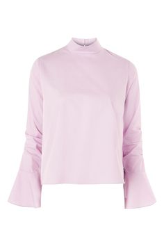 Ruched Sleeve High Neck Poplin Top