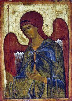 Gabriel from Vysotsky chin (14c, Tretyakov gallery) - ガブリエル - Wikipedia 水を司る,色はブルー