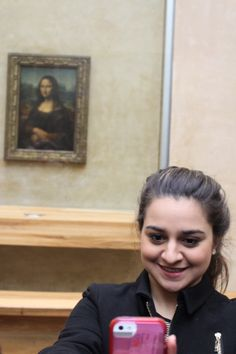 Taking a selfie w/the Mona Lisa - The louvre - Paris, France - February 2014