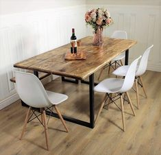 Industrial Dining Table Rustic solid Kitchen farmhouse Steel Reclaimed Chelsea - Handmade In Britain British Steel A beautifully modern yet rustic industrial dining table, with plenty of character. The chairs contrast perfectly with the rustic wood! Reclaimed Dining Table, Wooden Dining Tables, Industrial Dining Tables, Rustic Wood Dining Table, Dining Table In Kitchen, Farmhouse Table, Dining Table With Bench, Industrial Furniture, Dining Room Tables