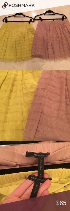2, BCBG Ruffle Tulle Allegra Skirts 2, BCBG Ruffle Tulle Skirts! Nude/Neon Yellow. Worn 1x. BCBGMaxAzria Skirts