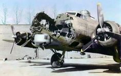 A B17 after it collided midair with another B17