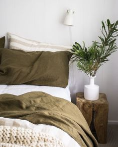 Olive is the perfect Autumnal colour to add that depth to your dreamy interior. Olive Bedroom, Cozy Bedroom, Bedroom Inspo, Dream Bedroom, Home Decor Bedroom, Master Bedroom, Bedroom Ideas, Ikea Bed, Simple Bed