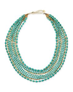 Multi-Strand Beaded Statement Necklace, Turquoise/Golden by Nakamol at Neiman Marcus.