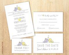 Birds Wedding Invitation Set, Love Birds Wedding Invitation, Purple and Yellow Invite, RSVP, Save The Date, Thank You Card, Printable DIY