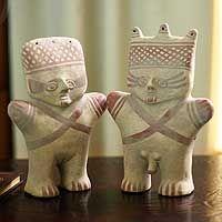 Ceramic sculptures, 'Cuchimilco Protection' (pair)