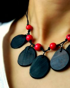Tagua Necklace - Matte Black & Tango Red Acai / Sterling Silver.